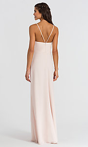 Image of Hailey Paige high-neck long bridesmaid dress. Style: HYP-5611 Back Image