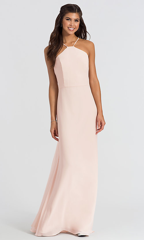 Image of Hailey Paige high-neck long bridesmaid dress. Style: HYP-5611 Detail Image 1