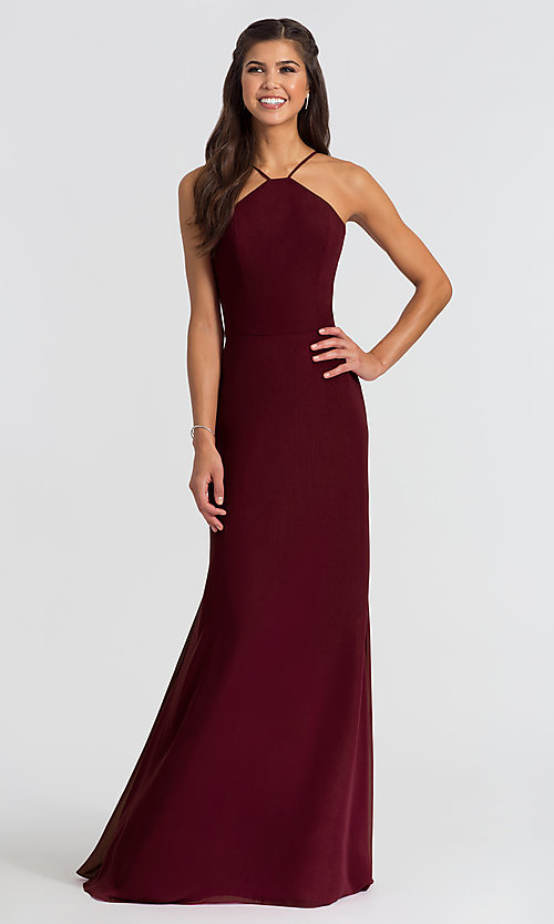 Image of Hailey Paige high-neck long bridesmaid dress. Style: HYP-5611 Detail Image 4