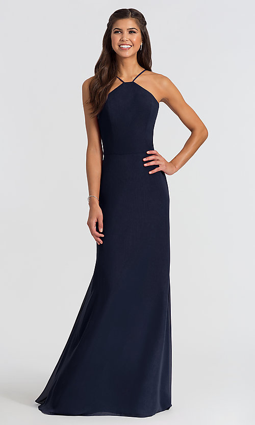 Image of Hailey Paige high-neck long bridesmaid dress. Style: HYP-5611 Front Image
