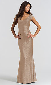 Image of long sequin bridesmaid dress with cap sleeves. Style: BJ-BM-1617 Detail Image 3