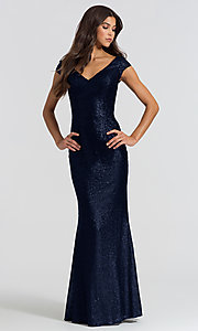 Image of long sequin bridesmaid dress with cap sleeves. Style: BJ-BM-1617 Front Image