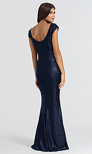 Image of long sequin bridesmaid dress with cap sleeves. Style: BJ-BM-1617 Back Image