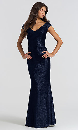 Long Sequin Bridesmaid Dress with Cap Sleeves