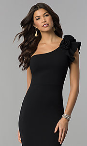 Image of ruffled one-shoulder formal long jersey dress. Style: SY-IDM5303VP Detail Image 1