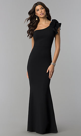 Ruffled One-Shoulder Formal Long Jersey Dress