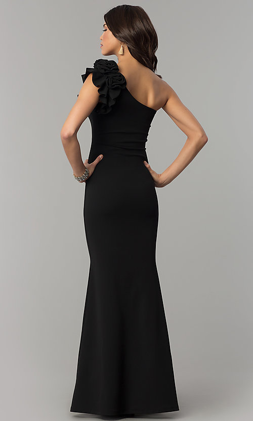 Image of ruffled one-shoulder formal long jersey dress. Style: SY-IDM5303VP Back Image