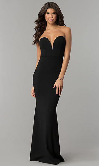 Strapless Military Ball Dress with Deep V-Neckline
