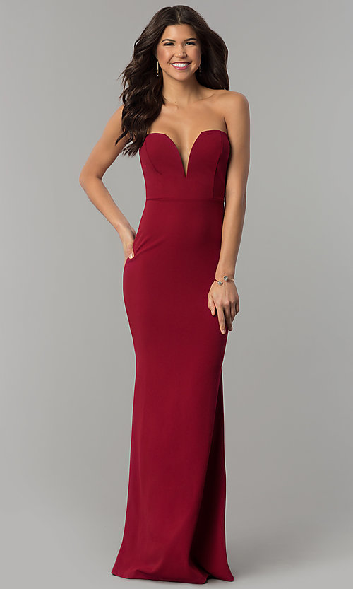 Image of strapless military ball dress with deep v-neckline. Style: SY-IDM5305VP Detail Image 2