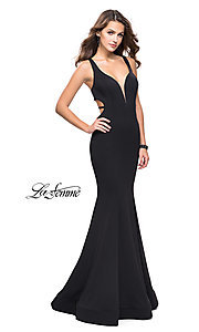 Image of La Femme strappy-open-back long formal prom dress. Style: LF-25594 Front Image