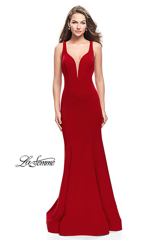 Image of La Femme strappy-open-back long formal prom dress. Style: LF-25594 Detail Image 1