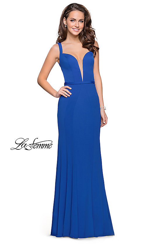 Image of long open-back v-neck prom dress by La Femme. Style: LF-25964 Detail Image 3