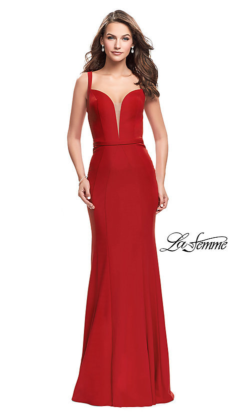 Image of long open-back v-neck prom dress by La Femme. Style: LF-25964 Front Image