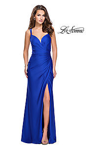 Image of La Femme open-back prom dress with ruched bodice. Style: LF-26317 Detail Image 2