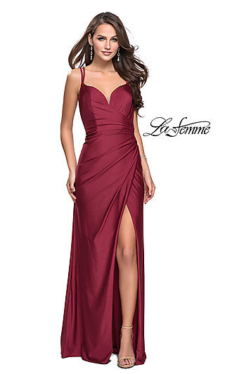 La Femme Open-Back Prom Dress with Ruched Bodice