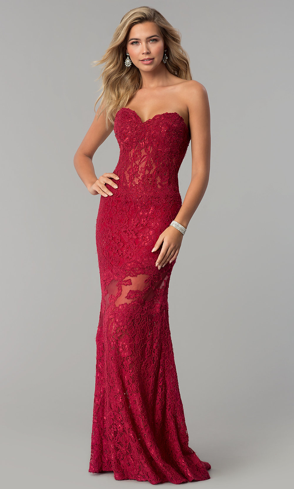 Lace Prom Dress With Strapless Sweetheart Neckline