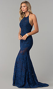 Image of navy blue halter lace Nina Canacci prom dress. Style: NC-2141S Detail Image 1