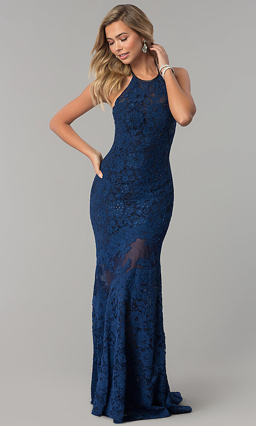 Image of navy blue halter lace Nina Canacci prom dress. Style: NC-2141S Front Image