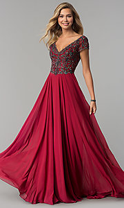 Image of short-sleeve long chiffon formal dress with beading. Style: NC-3128 Detail Image 3