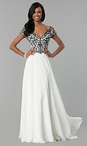Image of short-sleeve long chiffon formal dress with beading. Style: NC-3128 Detail Image 2