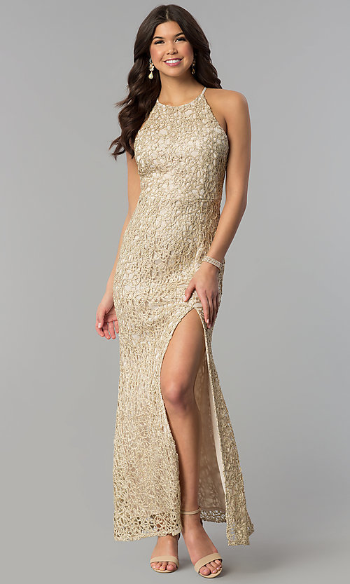 Image of multi-strap long gold glitter-lace prom dress. Style: JOJ-JE-E80002 Front Image