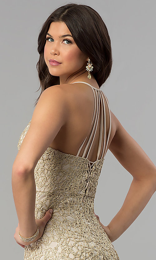 Image of multi-strap long gold glitter-lace prom dress. Style: JOJ-JE-E80002 Detail Image 1