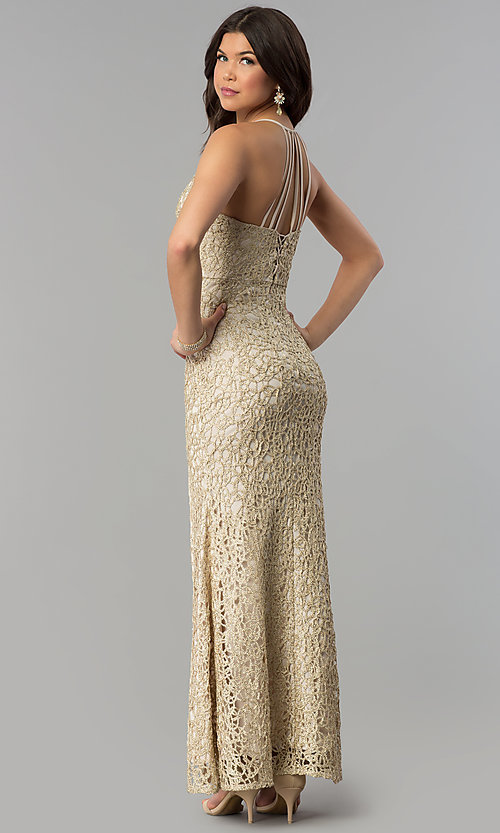 Image of multi-strap long gold glitter-lace prom dress. Style: JOJ-JE-E80002 Back Image