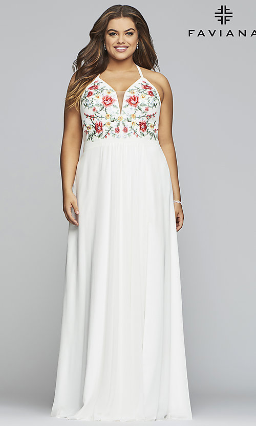 Plus-Size Faviana Long Ivory Formal Prom Dress