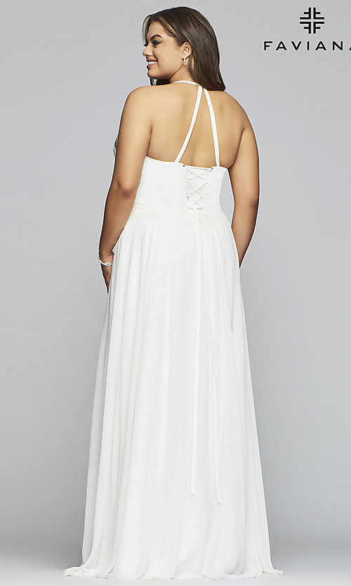 Image of plus-size Faviana long ivory formal prom dress. Style: FA-9435 Back Image