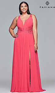 Image of plus-size formal chiffon prom dress with embroidery. Style: FA-9433 Front Image