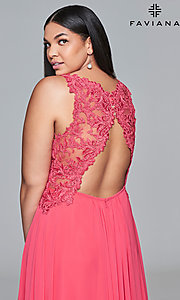 Image of plus-size formal chiffon prom dress with embroidery. Style: FA-9433 Detail Image 2