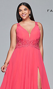 Image of plus-size formal chiffon prom dress with embroidery. Style: FA-9433 Detail Image 1