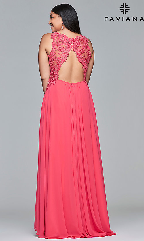 Image of plus-size formal chiffon prom dress with embroidery. Style: FA-9433 Back Image