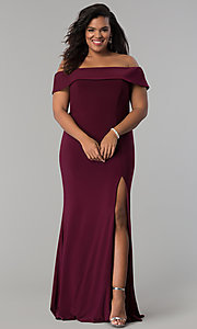 Image of Faviana long plus-size prom dress in jersey. Style: FA-9441 Front Image