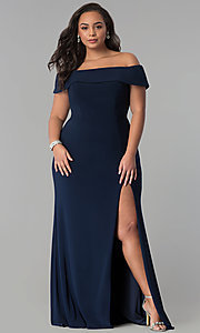 Image of Faviana long plus-size prom dress in jersey. Style: FA-9441 Detail Image 3