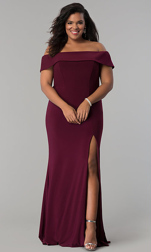 6ea220533f Image of Faviana long plus-size prom dress in jersey. Style  FA-