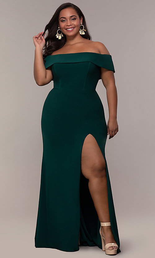 Image of Faviana long plus-size prom dress in jersey. Style: FA-9441 Detail Image 6