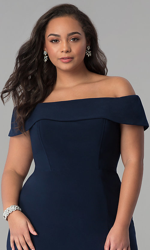 Image of Faviana long plus-size prom dress in jersey. Style: FA-9441 Detail Image 5