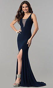 Image of long navy blue formal dress with beaded v-neckline. Style: MF-E2333 Front Image