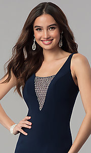 Image of long navy blue formal dress with beaded v-neckline. Style: MF-E2333 Detail Image 1