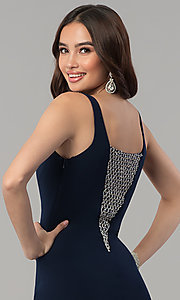 Image of long navy blue formal dress with beaded v-neckline. Style: MF-E2333 Detail Image 2