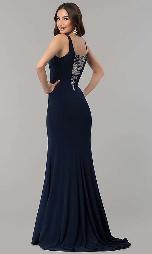 Image of long navy blue formal dress with beaded v-neckline. Style: MF-E2333 Back Image