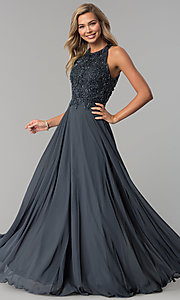 Image of high-neck beaded-bodice Milano Formals prom dress. Style: MF-E2247 Front Image