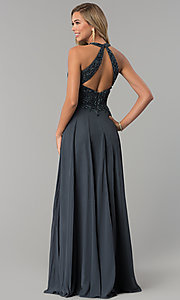 Image of high-neck beaded-bodice Milano Formals prom dress. Style: MF-E2247 Back Image