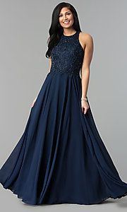 Image of high-neck beaded-bodice Milano Formals prom dress. Style: MF-E2247 Detail Image 1