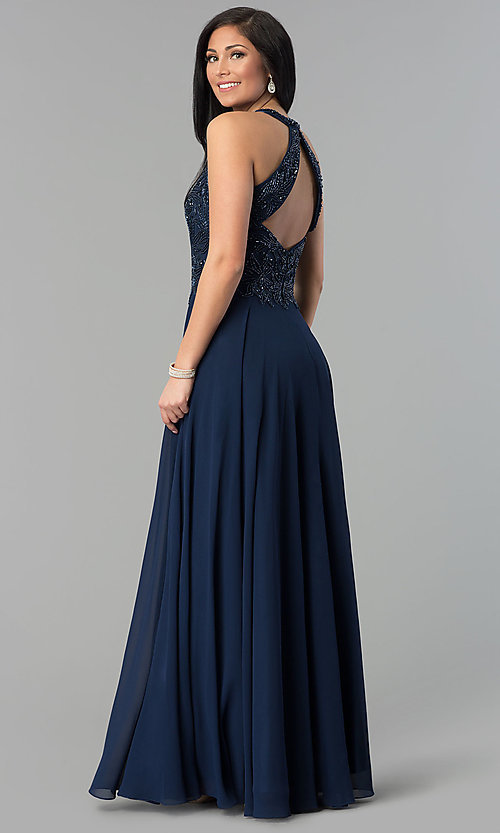 Image of high-neck beaded-bodice Milano Formals prom dress. Style: MF-E2247 Detail Image 2