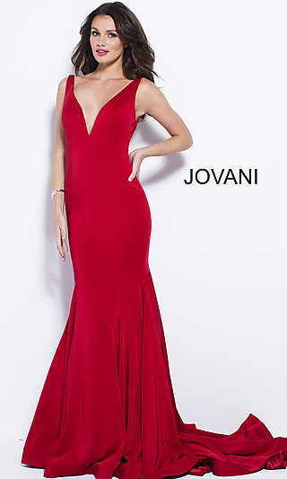 Long V-Neck Jersey Jovani Prom Dress