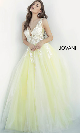 Sheer-Bodice Jovani Ball-Gown-Style Prom Dress