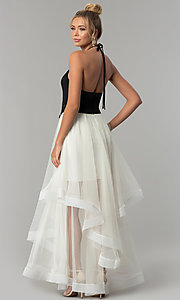 Image of long high-neck halter black and ivory prom dress. Style: BN-281BN Back Image
