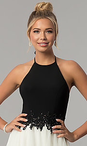 Image of long high-neck halter black and ivory prom dress. Style: BN-281BN Detail Image 1